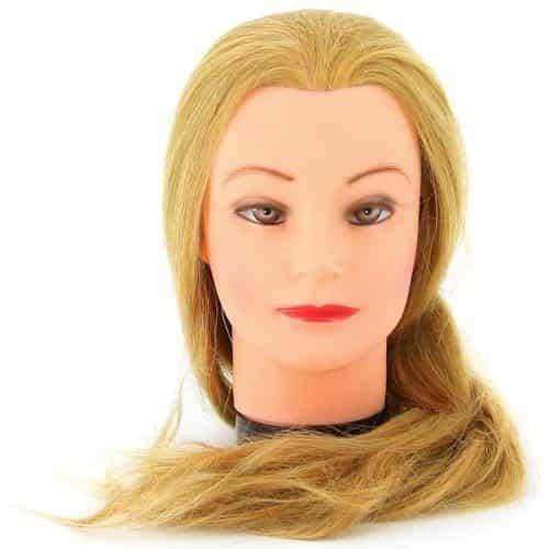 Голова учебная Dewal, блондинка, натуральные волосы 50-60 см M-4151XL-408