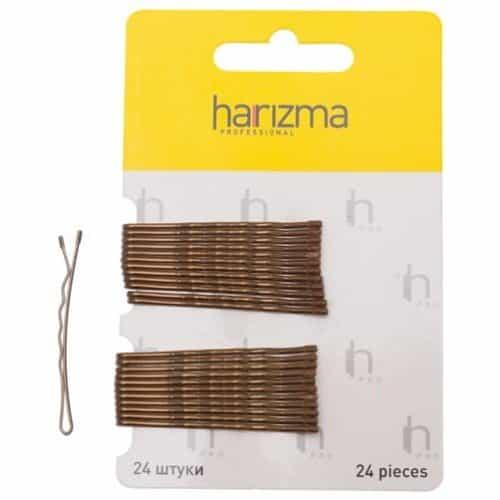 Невидимки Harizma 50 мм волна 24 шт коричневые h10534-04