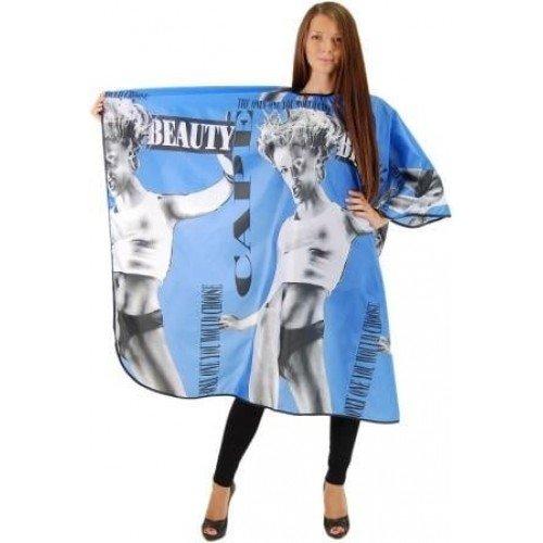 Пеньюар HairWay Beauty нейлоновый, водонепроницаемый, черно-голубой 120x146 см 37013