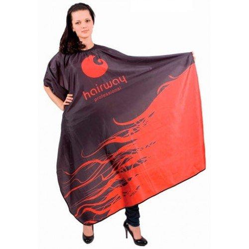 Пеньюар HairWay Black&Red нейлоновый, водонепроницаемый, черно-красный 136x160 см 37071