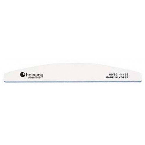 Пилка для ногтей HairWay 18 см широкая полукруглая белая 80/80 11153