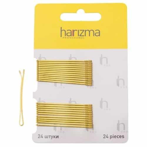Невидимки Harizma 50 мм прямые 24 шт золото h10535-19