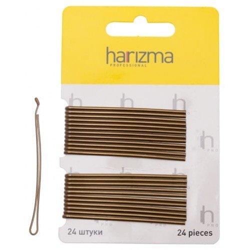 Невидимки Harizma 70 мм прямые с укороченной верхней частью 24 шт коричневые h10540-04