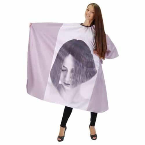 Пеньюар HairWay Girl нейлоновый, водонепроницаемый, сиреневый 125x146 см 37024