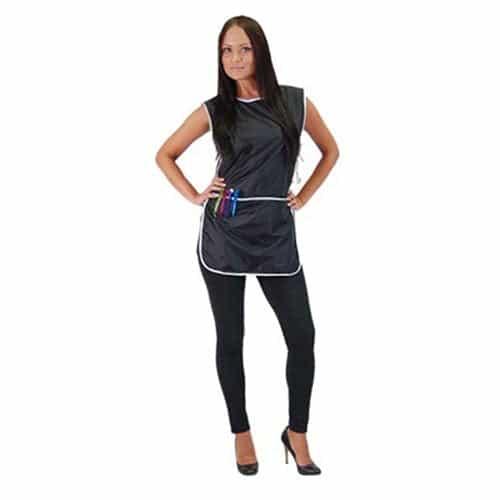 Фартук HairWay 38015 370015 двусторонний с серебряной окантовкой, черный