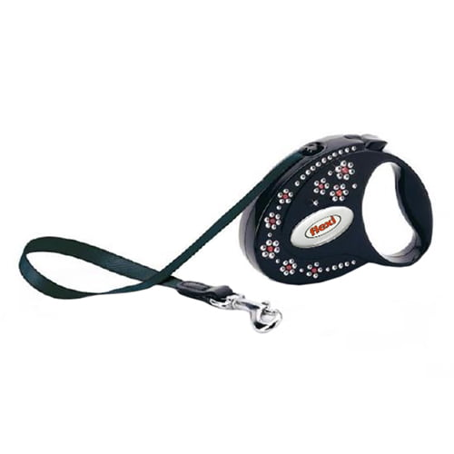 Поводок-рулетка для собак Flexi Glam Flowers Onix-Black