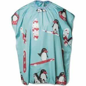 Накидка парикмахерская Harizma Пингвины, укороченная, синяя 100x75 см h10891-06