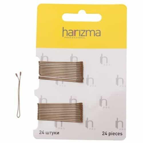 Невидимки Harizma 40 мм прямые 24 шт коричневые h10533-04