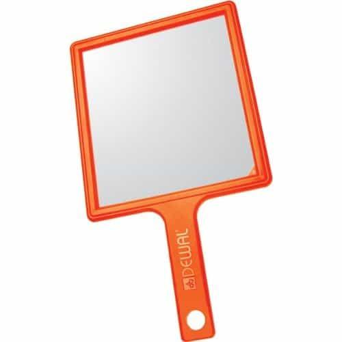 Зеркало заднего вида Dewal, пластик, оранжевое с ручкой, 21,5x23,5 см MR-051