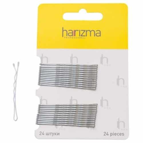 Невидимки Harizma 50 мм волна 24 шт серебро h10534-17