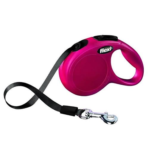 Поводок-рулетка для собак Flexi New Classic M 5 м трос розовый