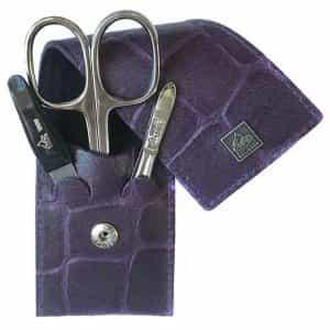 Маникюрный набор Erbe, 3 предмета, фиолетовый футляр из натуральной кожи 9714ER