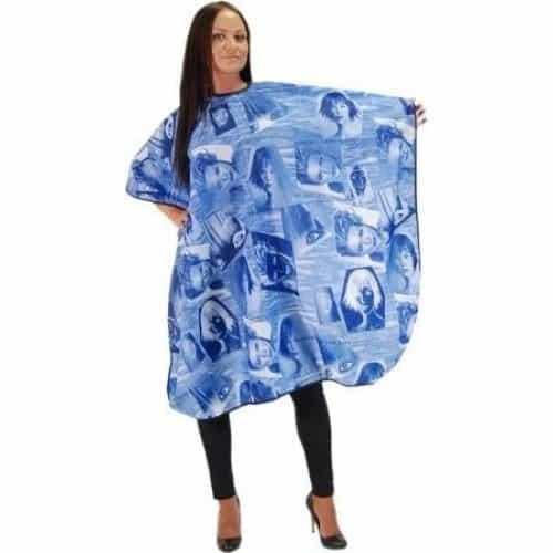 Пеньюар HairWay Summer in City нейлоновый, водонепроницаемый, синий 115x146 см 37213