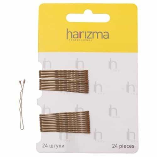 Невидимки Harizma 40 мм волна 24 шт коричневые h10532-04