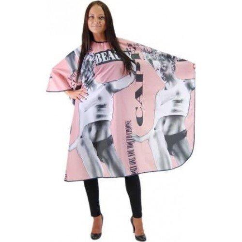 Пеньюар HairWay Beauty нейлоновый, водонепроницаемый, розово-черный, 120x146 см 37011