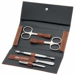 Маникюрный набор Erbe, 5 предметов, коричневый футляр из натуральной кожи 94990ER