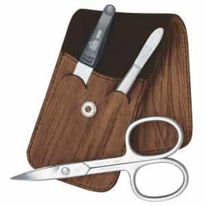 Маникюрный набор Erbe, 3 предмета, футляр из натуральной кожи цвета коричневое дерево 9100ER
