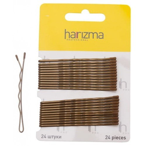Невидимки Harizma 70 мм волна 24 шт коричневые h10538-04