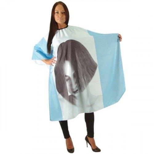 Пеньюар HairWay Girl нейлоновый, водонепроницаемый, голубой 125x146 см 37023
