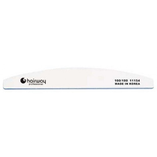 Пилка для ногтей HairWay 18 см широкая полукруглая белая 100/180 11154