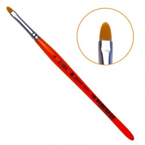 Кисть Planet Nails, гелевая, овальная из синтетического волоса, № 6 21005