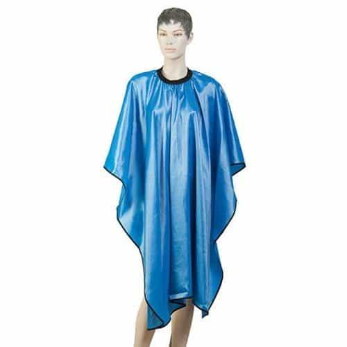 Пеньюар для стрижки Dewal Глянец, полиэстер, голубой 128x146 см, на крючках AA04Light Blue