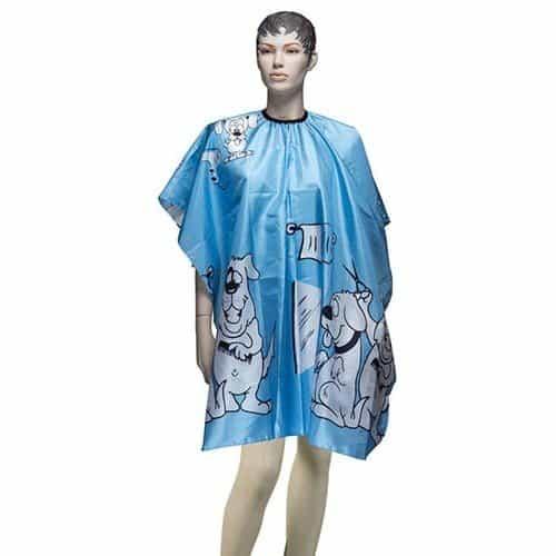 Пеньюар для стрижки Dewal Собачки, детский, полиэстер, синий 95х120 см, на крючках AP90A23