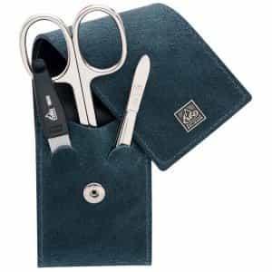 Маникюрный набор Erbe, 3 предмета, зеленый футляр из натуральной кожи 94960ER