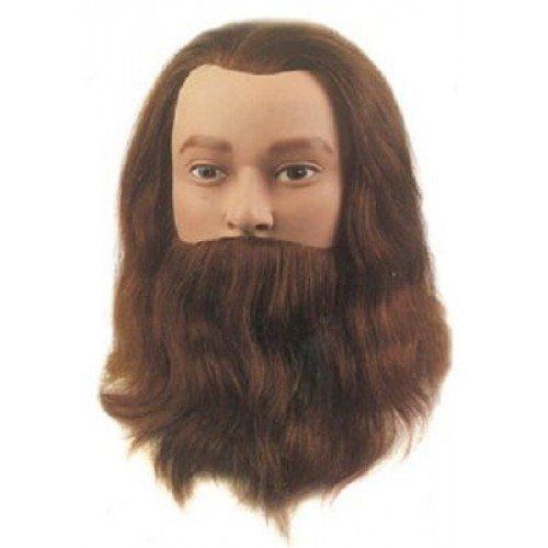 Голова учебная Sibel Leif, мужская с усами и бородой, натуральные волосы, 20-25 см 0041001