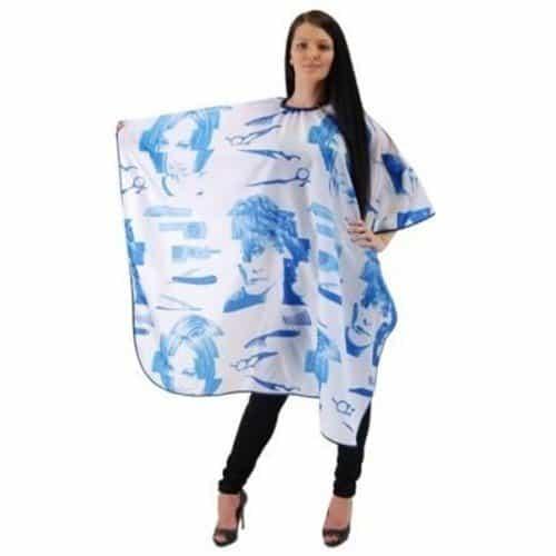 Пеньюар HairWay Tools & Individuals нейлоновый, водонепроницаемый, сине-белый 115x146 см 37913