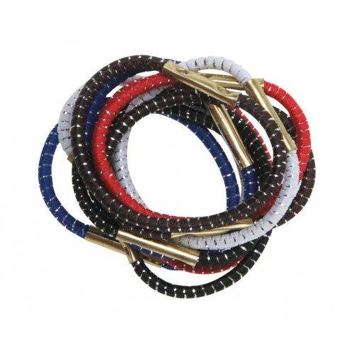 Резинки для волос DEWAL, с серебристой нитью, цветные, mini 10 шт/уп RE015
