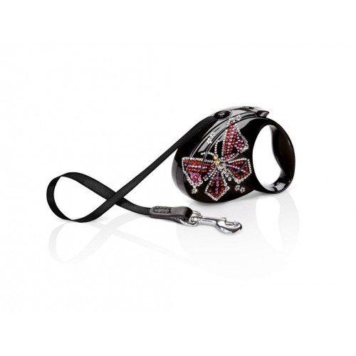 Поводок-рулетка для собак Flexi Glam Butterfly Small Черная