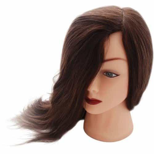 Голова учебная Dewal, шатенка, натуральные волосы 30-40 см M-2023M-6
