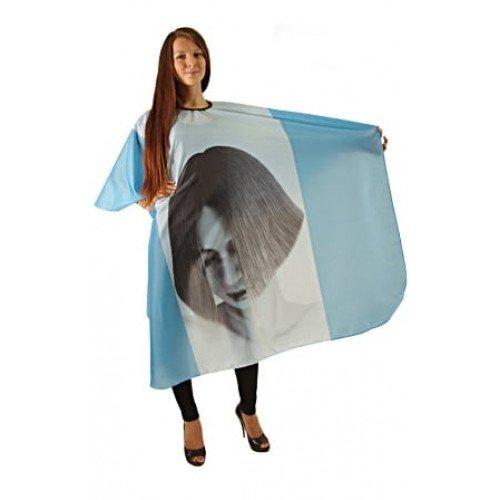 Пеньюар HairWay Girl нейлоновый, водонепроницаемый, голубой 125x146 см 37022