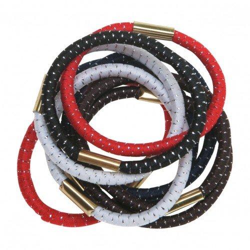 Резинки для волос DEWAL с серебристой нитью цветные maxi 10 шт/уп  RE010