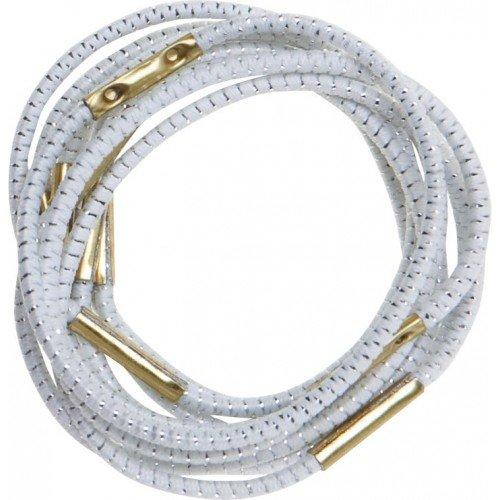 Резинки для волос DEWAL, с серебристой нитью, белые, midi 10 шт/уп RE014