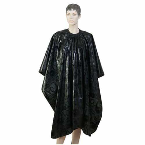 Пеньюар для стрижки Dewal Love, нейлон, черный 138x150 см, на крючках AC07B