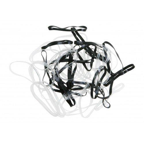 Резинки для волос Dewal, силиконовые, цвет черный/белый, midi 50 шт/уп RES032
