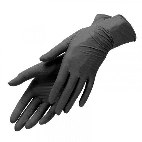 Перчатки виниловые Planet Nails, черные, L, 100 шт в упаковке 19259