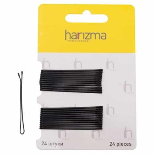 Невидимки Harizma 50 мм прямые 24 шт черные h10535-15