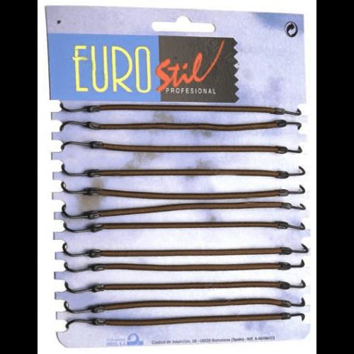 Резинки с крючками для вечерних причесок Eurostil коричневые 12 шт. 00637