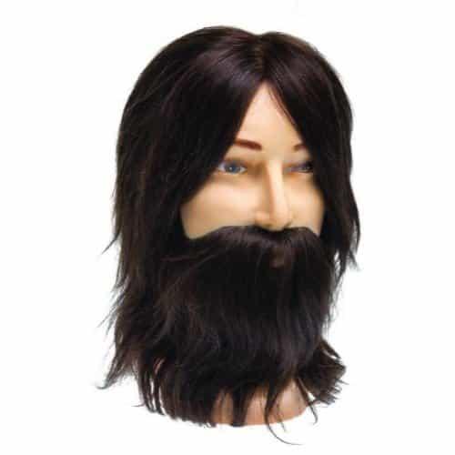 Голова учебная Dewal мужская, шатен, натуральные волосы с усами и бородой 35 см M-880BD-6