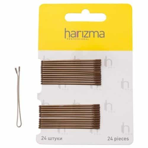 Невидимки Harizma 50 мм прямые 24 шт коричневые h10535-04