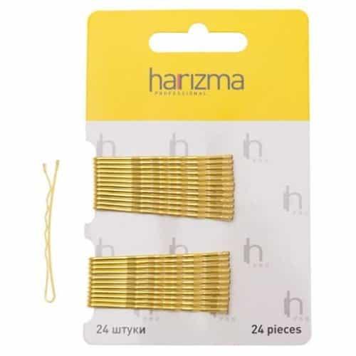 Невидимки Harizma 50 мм волна 24 шт золото h10534-19