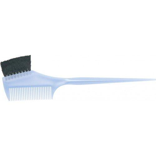 Кисть для окрашивания Dewal голубая, с расческой, с черной волнистой щетиной, узкая 55 мм JPP049 blu