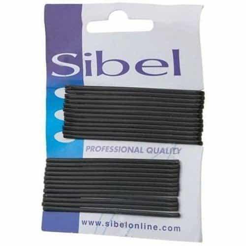 Невидимки Sibel гладкие чёрные, 70 мм, 24 шт 940017002