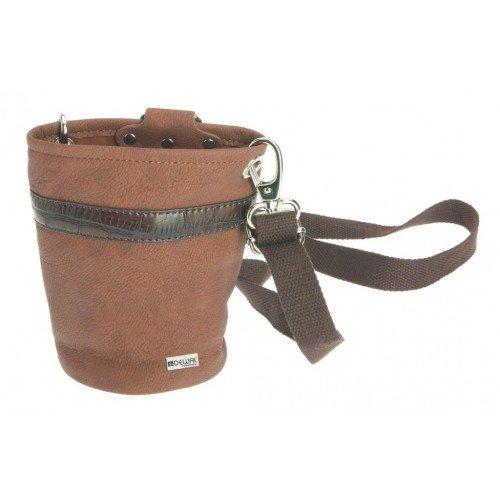 Сумка-мешок для парикмахерских инструментов DEWAL, иск. кожа, коричневая,14х16,5 см
