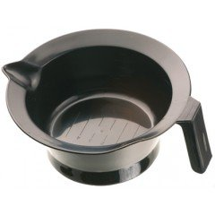 Чаша для краски Dewal черная, с ручкой и носиком, с резинкой на дне 260 мл T-1202