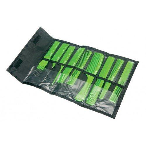 Набор расчесок Dewal салатовый, в черном чехле, 9 шт CO-9-Light Green