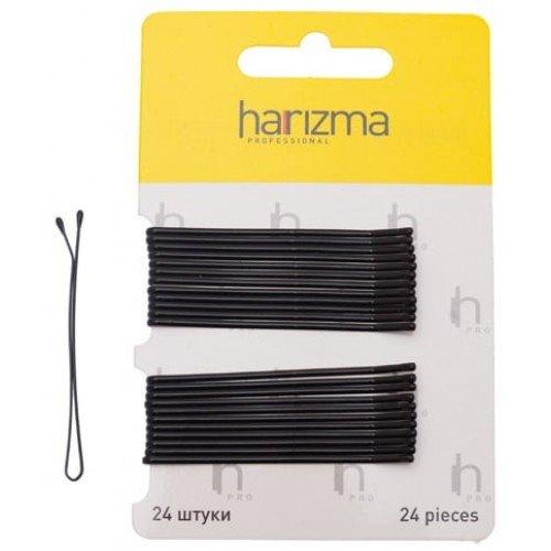 Невидимки Harizma 60 мм прямые 24 шт черные h10537-15